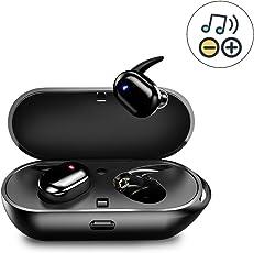 【進化版・音量調整】 AIKAQI Bluetooth イヤホン 音量調整 完全 ワイヤレス イヤホン HIFI高音質 ブルートゥース イヤホン 充電式収納ケース 左右分離型 片耳 両耳とも対応 マイク付き ハンズフリー通話 IPX5防汗防滴 B07 ブラック