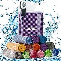 VACNITE クールタオル 速乾タオル 超吸水 軽量 速乾 熱中症対策 100×30cm 1枚 14種類選択可能 防水袋付き (パープル 格子)