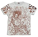 【S】 和柄・刺青Tシャツ(半袖)[筋彫り雷神/茶]【刺青シリーズ】
