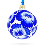 BestPysanky Pansies Flowers on White Glass Ball Christmas Ornament