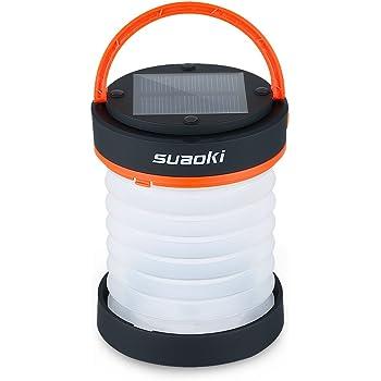 suaoki 3WAY高輝度LEDランタン ソーラーライト 懐中電灯 電池不要 USB充電 アウトドアや災害時の備えに オレンジ