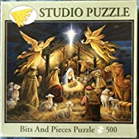 Bits and Pieces Puzzle 500 Fully Interlocking Pieces. In the Manger Artist- Ruane Manning by Bits and Pieces
