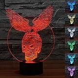 WONFAST ® Magicalパネル3d光学式ビジュアル化イリュージョン7色変更USBタッチスイッチテーブルランプBulbing LEDライト夜間照明ホーム装飾家庭用ライト Eagle & Skull