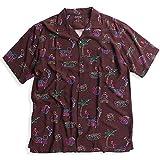 QUINTETTO ネオンサイン アロハシャツ オープンシャツ 開襟シャツ 半袖シャツ メンズ カジュアル アメカジ 01-78501 (XL, 12,ワイン(WINE))