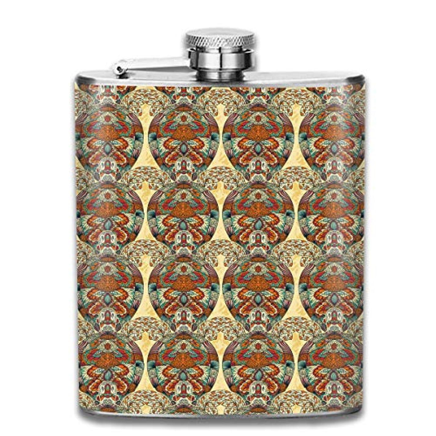 文句を言う黒メリー亀の花の模様 フラスコ スキットル ヒップフラスコ 7オンス 206ml 高品質ステンレス製 ウイスキー アルコール 清酒 携帯 ボトル