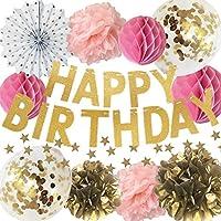 manaparty ( マナパーティ ) 誕生日 飾り付け ゴールド キラキラ コンフェッティ バルーン ガーランド バースデー セット デコレーション 女の子 manapa01 (ピンク)