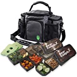 Insulated Meal Prep Lunch Bag : Large, 6 Compartment Lunchbox Cooler Tote with 3 Food Prep To Go Box Containers, Ice Pack and
