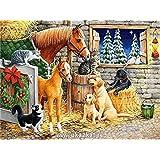 Diyの油絵子供のためのデジタル油絵大人初心者16x20インチ、動物界--クリスマスの装飾ホームインテリアギフト (フレーム)