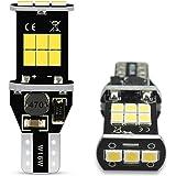 AUXITO T16 LED バックランプ 爆光 2個セット バックランプ T16 / T15 ホワイト キャンセラー内蔵 無極性 2835LED素子15個 30000時間寿命 T15 LED 白 1年保証