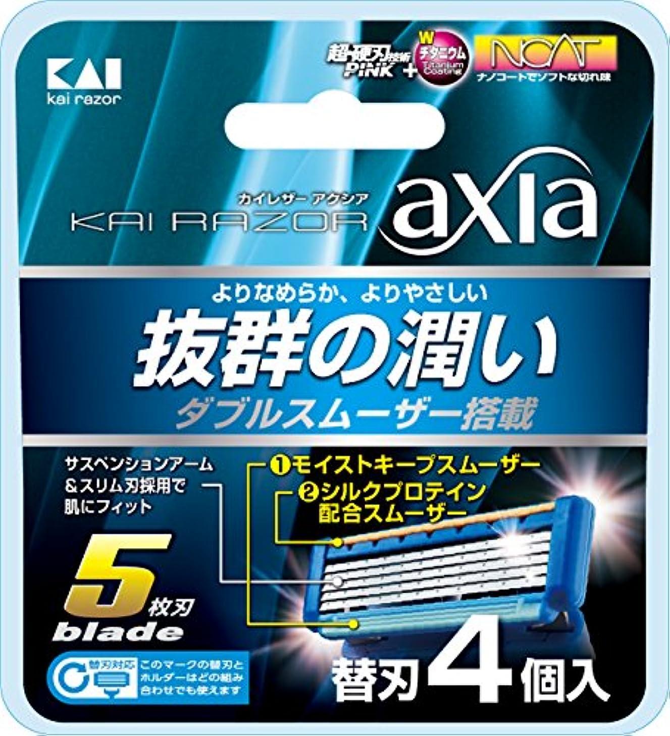 サポート厚いKAI RAZOR axia(カイ レザー アクシア)5枚刃 替刃 4個入