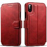 iphoneX iPhone6/6S/7レザーケース カード入れ 耐衝撃カバー 耐摩擦 全面保護 プレゼントに最適(iphoneX,Red)