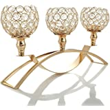 VINCIGANT Gold Candelabras Crystal Candle Holders for Wedding Decoration Table Centerpieces Birthday Gifts