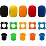 findTop Shakeproof Anti-Rolling Wireless Handheld Microphone Protection Silicone Ring (5 PCS), Bottom Rod Sleeve Holder (5 PC