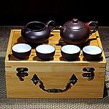 ティーポット 中国茶器 茶盤茶杯 宜興紫砂急須 (丸珠セット)