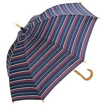 日傘 完全遮光 遮熱 かわず張り 特殊2重張り製法 ボーダー ナチュラル 女性用日傘 長日傘 (マルチボーダーネイビー)