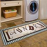 USTIDE Vintage Style Waterproof Floor Runners Non Skid Kitchen Floor Mat Laundry Room Cheap Washhouse Mat Bathroom Rugs Non-S