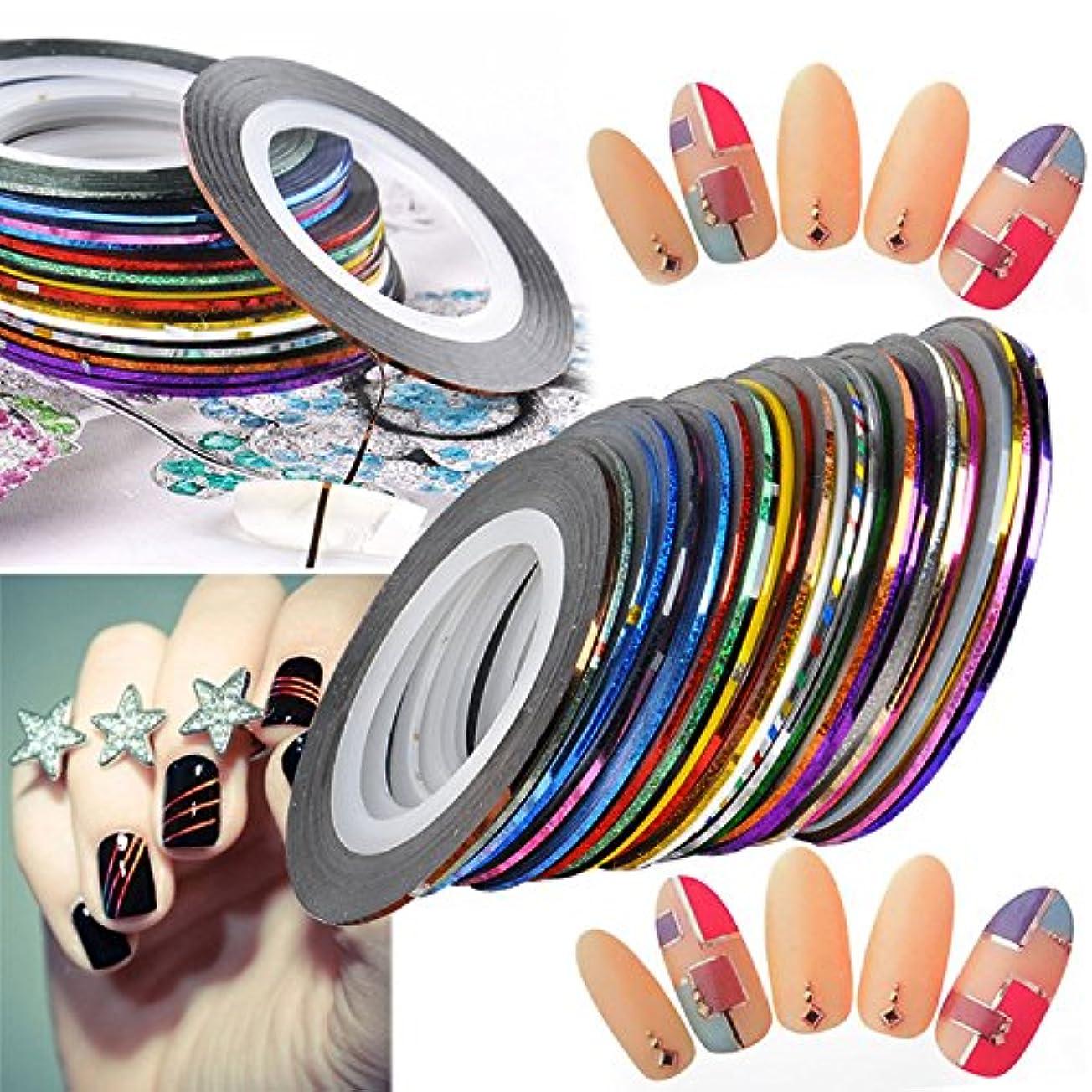 ネイルアート用 ラインテープ 爪 飾り用品 カラフル 綺麗 ラインアートテープ 30種セット