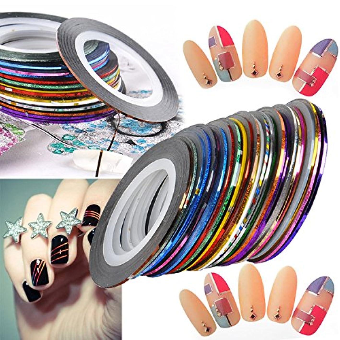 踊り子マイナスメタルラインネイルアート用 ラインテープ 爪 飾り用品 カラフル 綺麗 ラインアートテープ 30種セット