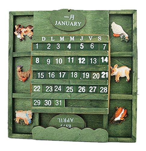 (ビウインキー) Biwinky カレンダー 万年暦 掛け暦 工芸品 装飾 動物柄 装飾 木の壁掛け 置物 おしゃれ インテリア 田舎風 レトロ グリーン