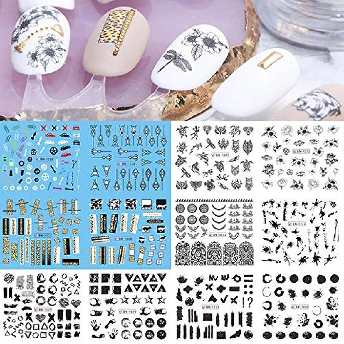 チップコロニアルはげSUKTI&XIAO ネイルステッカー ネイルウォーターステッカー1セットホイルセクシーな女の子マニキュアスライダーライン描画転送ステッカーネイルアートデカ、Bn1225-1236