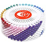 Decora 480 Pieces Rainbow Round Pearl Head Pins Dressmaking Pins for Crafts Sewing Decorations