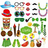 Tinksky 36pcs Hawaii Themed Photo Booth Props Luau Party Supply for Beach Party