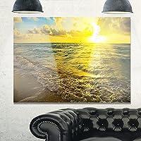 """デザインアートmt10533–20–12海& Shoreブルーメタル壁アート 40x30"""" ブルー MT10533-40-30"""