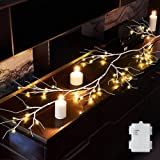 Hairui Spring Birch Garland with Lights 6FT 48 LED Battery Operated with Timer for Christmas Home Decoration Indoor Outdoor U