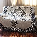 アーバンモダン モノトーン調 ブランケット ソファーカバー 椅子掛け マルチカバー エスニック図案 ブラック+ホワイト 130cm*180cm