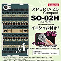 SO02H スマホケース Xperia Z5 Compact カバー エクスペリア Z5 コンパクト ソフトケース イニシャル エスニックゾウ 青 nk-so02h-tp1573ini P