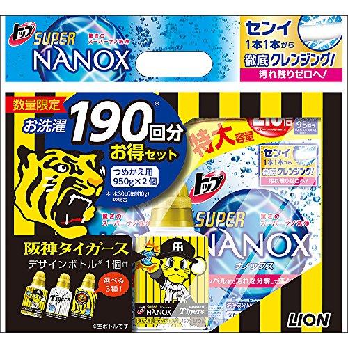 トップ スーパーナノックス 洗濯洗剤 液体 詰替特大 950g×2個パック+阪神タイガースデザイン空ボトル付き