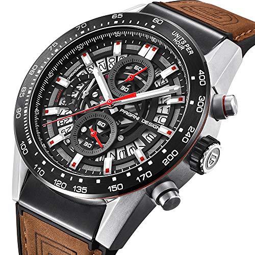 Pagani Design メンズ ブラウン レザー アナログ クロノグラフ クォーツ 時計 ビジネス用 ドレス用 スポーツ用 腕時計