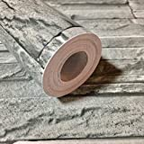 RUDOSTYLE DIY 壁紙 3D レンガ 立体 カッティングシート おしゃれ アンティーク シール タイプ のり付き はがせる ビニールクロス 防水 壁紙シール クロス 45cm×10m (アッシュグレイ)