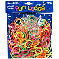 Fun Loops Bandz 300 Multi Neon Colors Rubber Loom Bands with 12 Clips by Confetti and Friends