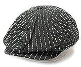 ノーブランド品 キャスケット ハンチング シームストライプ ワーク キャップ 帽子 ブラック