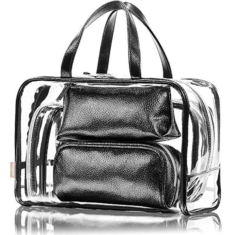 疑い助手確かにNiceEbag 透明バック、ビニールバッグ、化粧品バッグ、化粧ポーチ、メイクポーチ、クリアバッグ、プールバック、ハンドバッグ、トートバッグ、スタイリッシュ、オシャレ、かわいい、温泉、海、旅行 ビーチ ビジネス スパンコール 防水性 5個セットバック ブラック