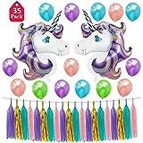 Tumao ユニコーン バルーン 風船 セット デコレーション パーティー用品 タッセル ガーランドセット 飾り付け 子供 お祝い 結婚式 写真背景 紫 両面テープ ヘンプロープ 付き 38pcs