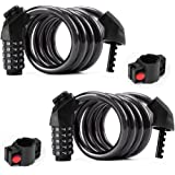 2-Pieces Bike Lock Cable (4 Feet *1/2 inch),5-Digit Resettable Combination Anti-Theft Bike Lock for Bike and Scooters,Bicycle