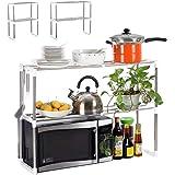 CBCBBING [Adjustable] Stainless Steel Microwave Oven Rack Shelf Toaster Oven Tableware Storage Shelf Multifunction Kitchen Co