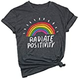 Qrupoad Women Radiate Positivity Rainbow Shirt Funny Graphic Tee Summer Short Sleeve Shirts Tops