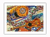 ハワイアンノスタルジア - ウクレレ、フェザー・ゴードス ('Uli 'Uli)、楽譜 - オリジナルハワイ水彩画から によって作成された ペギー チュン -プレミアム290gsmジークレーアートプリント - 46cm x 61cm