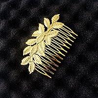 USport Punk Girls Multi Layer Leaves Golden Hair Comb Clip