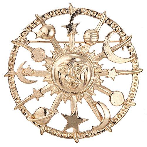 [해외]SENYON 골드 컬러 태양 별 달 브로치 핀/SENYON gold color solar star moon brooch pin