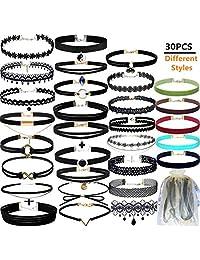 30 Pcs Black Velvet Choker Necklaces Set Choker Necklaces Velvet Choker Set Henna Tattoo Choker Ribbon for Teen Girls Women
