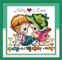 LovetheFamily クロスステッチキット DIY 手作り刺繍キット 正確な図柄印刷クロスステッチ 家庭刺繍装飾品 11CT ( インチ当たり11個の小さな格子)中程度の格子 刺しゅうキット フレームがない - 32×32 cm 愛のネットワーク