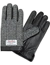 [オジエ] ozie/iTouch Gloves アイタッチグローブ・LEATHER・ハリスツイード・ウールxレザー・メンズ タッチパネル式デバイス・スマホ対応手袋・ヘリンボーン柄・ブラック黒 Lサイズ