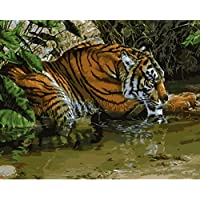 YEESAM ART New Release Paint by Number Kits for Adults Kids - Tiger Soak in the water 41cm x 50cm Linen Canvas without Wooden Frame