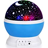 KING UP Night Light for Kids, Moon Star Projector - 4 LED Bulbs 8 Light Color Changing with USB Cable, 360 Degree Rotation, R