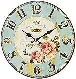 エポカ ウォールクロック 掛け時計 直径 30cm フラワー ブルー