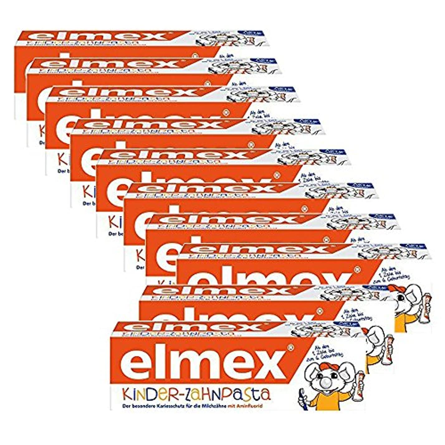 強盗フォーマル緩めるELMEX 子供の歯磨き粉 Toothpaste Children Kids 0-6 Years Old-50ml(10 Pack) [並行輸入品]